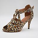 ราคาถูก รองเท้าแบบลาติน-สำหรับผู้หญิง รองเท้าเต้นรำ ซาติน ลาติน ส้น ส้นสูงบาง ตัดเฉพาะได้ เสือดาว