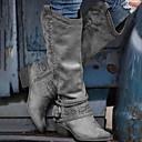 olcso Női csizmák-Női Csizmák Kényelmes cipők Vaskosabb sarok Erősített lábujj PU Magas szárú csizmák Ősz & tél Barna / Rózsaszín / Szürke