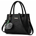 Χαμηλού Κόστους Τσάντες Tote-Γυναικεία Pom-pom PU Τσάντα χειρός Συμπαγές Χρώμα Μαύρο / Κρασί / Βυσσινί
