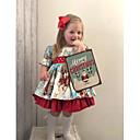 billige Babykjoler-Baby Jente Bohem julenissen Geometrisk Trykt mønster Kortermet Kjole Rød