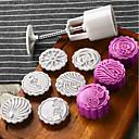 baratos Utensílios para Confeitaria-6 pcs flor mooncake molde mid-autumn festival pressão da mão molde diy ferramenta cortador de biscoitos bolo bakeware 1 barril com 5 selos conjunto