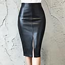 Χαμηλού Κόστους Στολές της παλιάς εποχής-Γυναικεία Μεγάλα Μεγέθη Εφαρμοστό PU Φούστες - Μονόχρωμο Μαύρο Τ M L
