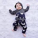 billige Sett med Gutter babyklær-Baby Gutt Grunnleggende Trykt mønster Lapper Langermet Normal Normal Tøysett Grå