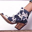 olcso Női csizmák-Női Csizmák Nyomtatási cipő Vaskosabb sarok Kerek orrú Fordított bőr Bokacsizmák Ősz & tél Fekete / Barna / Sárga