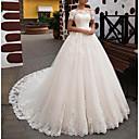 Χαμηλού Κόστους Σετ Κοσμημάτων-Γραμμή Α Ώμοι Έξω Ουρά Δαντέλα Κοντομάνικο Επίσημα Illusion Λεπτομέρειες Φορέματα γάμου φτιαγμένα στο μέτρο με 2020