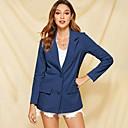 ราคาถูก เสื้อคลุมผู้หญิง-สำหรับผู้หญิง เสื้อคลุมสุภาพ, สีพื้น ปกคอแบะของเสื้อแบบน็อตช์ เส้นใยสังเคราะห์ สีน้ำเงิน