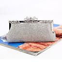 ราคาถูก กระเป๋าถือออกงานและกระเป๋าคลัทช์-สำหรับผู้หญิง คริสตัล / แสงระยิบระยับ เส้นใยสังเคราะห์ / โลหะผสม กระเป๋าราตรี สีทึบ สีดำ / สีทอง / สีเงิน