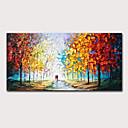 povoljno Slike za cvjetnim/biljnim motivima-Hang oslikana uljanim bojama Ručno oslikana - Pejzaž Apstraktni pejsaži Moderna Uključi Unutarnji okvir
