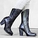 Χαμηλού Κόστους Γυναικείες Μπότες-Γυναικεία Μπότες Κοντόχοντρο Τακούνι Στρογγυλή Μύτη PU Μπότες στη Μέση της Γάμπας Φθινόπωρο & Χειμώνας Καφέ / Γκρίζο