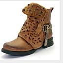 billige Mote Boots-Dame Støvler Komfort Sko Flat hæl Rund Tå Mikrofiber Ankelstøvler Høst vinter Svart / Gul / Grå