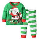 billige Undertøy og sokker til baby-2pcs Baby Jente julenissen Stripet / Jul Printer Langermet Bomull Nattøy Grønn