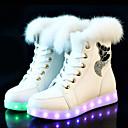 billige Sneakers til damer-Dame Treningssko Flat hæl Rund Tå PU Ankelstøvler LED / Fritid Vinter Svart / Hvit / Rosa
