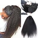 Χαμηλού Κόστους Αλογοουρές-Κλιπ Μέσα / Πάνω Αλογορουρές Χωρίς Οσμή / Δώρο / Για μαύρες γυναίκες Remy Τρίχα / Φυσικά μαλλιά Κομμάτι μαλλιών Hair Extension Ίσιο Πλήρες Μέγεθος Καθημερινά