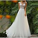 baratos Vestidos de Casamento-Linha A Decorado com Bijuteria Cauda Escova Tule Alças Regulares Mordern Detalhe da Ilusão Vestidos de casamento feitos à medida com Aplicação de renda 2020