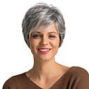 Χαμηλού Κόστους Χωρίς κάλυμμα-Ανθρώπινη Τρίχα Περούκα Κοντό Σγουρά Κούρεμα νεράιδας Σύντομα Hairstyles 2019 Με αφέλειες Σγουρά σύντομο Πλευρικό μέρος Γυναικεία Γκρι σκούρο κρασί Μεσαία Auburn / Bleach Blonde 8 Ίντσες