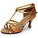 ราคาถูก รองเท้าแบบลาติน-สำหรับผู้หญิง รองเท้าเต้นรำ หนังสิทธิบัตร ลาติน ส้น ส้นสูงบาง ตัดเฉพาะได้ สีน้ำตาล