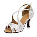 ราคาถูก รองเท้าแบบลาติน-สำหรับผู้หญิง รองเท้าเต้นรำ PU ลาติน หัวเข็มขัด ส้น หนา Heel ตัดเฉพาะได้ ขาว