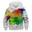 billige Pikekjoler-Barn Jente Aktiv Gatemote Trykt mønster 3D Trykt mønster Langermet Hettegenser og sweatshirt Regnbue