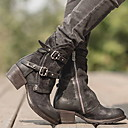 cheap Women's Boots-Women's Boots Comfort Shoes Low Heel Round Toe PU Booties / Ankle Boots Winter Black / Dark Brown