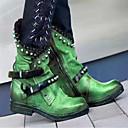 baratos Botas Femininas-Unisexo Botas Sapatos Confortáveis Salto de bloco Ponta Redonda Tachas Couro Ecológico Vintage / Casual Outono & inverno Preto / Roxo / Verde / Estampa Colorida