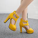 ราคาถูก รองเท้าแตะผู้หญิง-สำหรับผู้หญิง รองเท้าแตะ ส้นหนา ที่สวมนิ้วเท้า หัวเข็มขัด PU รองเท้าบู้ทหุ้มข้อ วินเทจ / ไม่เป็นทางการ ฤดูใบไม้ผลิ & ฤดูใบไม้ร่วง / ฤดูร้อนฤดูใบไม้ผลิ สีดำ / ขาว / สีเหลือง / พรรคและเย็น