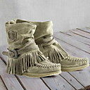 billige Mote Boots-Dame Støvler Komfort Sko Flat hæl Rund Tå Semsket lær Ankelstøvler Høst vinter Svart / Gul / Grønn