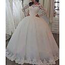 Χαμηλού Κόστους Φορέματα για κορίτσια-Βραδινή τουαλέτα Ώμοι Έξω Ουρά Δαντέλα Μακρυμάνικο Φορέματα γάμου φτιαγμένα στο μέτρο με Κουμπί 2020