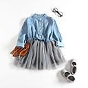 Χαμηλού Κόστους Βρεφικά φορέματα-Μωρό Κοριτσίστικα Ενεργό Patchwork / Μονόχρωμο Patchwork Μακρυμάνικο Φόρεμα Μπλε Απαλό
