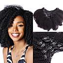 Χαμηλού Κόστους Πλεξούδες μαλλιών-Dolago Κουμπωτό Επεκτάσεις ανθρώπινα μαλλιών Σγουρά Φυσικά μαλλιά Εξτένσιον από Ανθρώπινη Τρίχα Βραζιλιάνικη Φυσικό 7 τεμ Χωρίς Οσμή Φυσικό 100% παρθένα Όλα Μαύρο