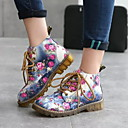billige Mote Boots-Dame Flate sko Flat hæl Rund Tå PU Høst vinter Svart / Blå / Grå