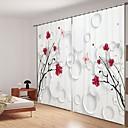 baratos Cortinas 3D-Vermelho simples buquê de impressão digital 3d cortina de sombreamento cortina de alta precisão tecido de seda preto cortina de alta qualidade