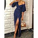 baratos Vestidos de Noite-Mulheres Básico Bainha Vestido - Paetês, Sólido Longo