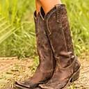 ราคาถูก ผ้าคลุมสำหรับชุดแต่งงาน-สำหรับผู้หญิง บูท รองเท้าสบาย ๆ ส้นแบน ปลายกลม PU บู้ทสูงระดับกลาง ฤดูใบไม้ร่วง & ฤดูหนาว สีดำ / สีน้ำตาล / สีเหลือง