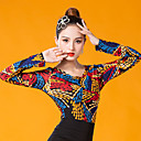 ราคาถูก ชุดเต้นรำลาติน-ชุดเต้นละติน เสื้อ สำหรับผู้หญิง Performance น้ำแข็งไหม กระโปรงระบาย แขนยาว Top