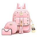Χαμηλού Κόστους Παιδικές τσάντες-Γυναικεία / Κοριτσίστικα Αρκούδα / Φερμουάρ PU Σετ τσάντα Συμπαγές Χρώμα 3 σετ Σετ τσαντών Μαύρο / Ανθισμένο Ροζ / Μπεζ