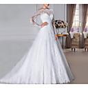 billiga Hårsmycken-A-linje Off shoulder Svepsläp Spets Långärmad Formella Illusion Detalj Bröllopsklänningar tillverkade med Kristalldetaljer 2020