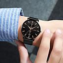 ราคาถูก Smartwatches-สำหรับผู้ชาย นาฬิกาข้อมือสแตนเลส นาฬิกาอิเล็กทรอนิกส์ (Quartz) รูปแบบชุดเป็นทางการ สไตล์ ดำ / เงิน / Rose Gold 30 m โครโนกราฟ Creative เรืองแสง ระบบอนาล็อก วิบวับ ที่เรียบง่าย - สีดำ สีทอง+สีดำ Rose