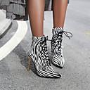 billige Mote Boots-Dame Støvler Trykk sko Stiletthæl Spisstå Dyremønster PU Ankelstøvler Britisk Gange Høst vinter Hvit / Gull / Gul