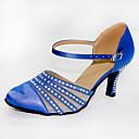 Χαμηλού Κόστους Ημέρα επιστροφής στο σπίτι-Γυναικεία Μοντέρνα παπούτσια / Αίθουσα χορού Σατέν Cross Strap Τακούνια Κρύσταλλο / Στρας Κουβανικό Τακούνι Εξατομικευμένο Παπούτσια Χορού Μπλε / Επίδοση / Εξάσκηση