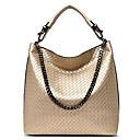 ราคาถูก กระเป๋า Totes-สำหรับผู้หญิง Straw / PU กระเป๋าถือยอดนิยม สีทึบ สีดำ / สีทอง / สีน้ำเงิน