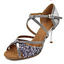 olcso Latin cipők-Női Dance Shoes Szintetikus Latin cipők Csillogás / Illesztés Magassarkúk Slim High Heel Személyre szabható Fekete / Ezüst
