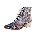 olcso Női csizmák-Női Csizmák Nyomtatási cipő Vaskosabb sarok Erősített lábujj Állatos minta Szatén Bokacsizmák Alkalmi Gyalogló Ősz & tél Sötétvörös / Kék