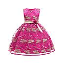 Χαμηλού Κόστους Βρεφικά φορέματα-Παιδιά Κοριτσίστικα Ενεργό Γλυκός Μονόχρωμο Κεντητό Αμάνικο Ως το Γόνατο Φόρεμα Βυσσινί