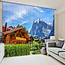 baratos Cortinas 3D-Casa de madeira impressão digital 3d cortina de sombreamento cortina sob a montanha de neve de alta precisão tecido de seda preto cortina de alta qualidade