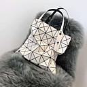 billige Tote-vesker-Dame Glimmer / Glidelås PU Tote-veske Geometrisk mønster Svart / Hvit / Rosa / Høst vinter