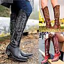 olcso Női csizmák-Női Csizmák blokk Heel Erősített lábujj PU Magas szárú csizmák Vintage / Alkalmi Tavasz & Ősz / Ősz & tél Fekete / Barna / Piros / Party és Estélyi
