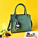 ราคาถูก กระเป๋า Totes-สำหรับผู้หญิง PU กระเป๋าถือยอดนิยม สีทึบ สีดำ / สีแดงชมพู / ใบไม้สีเขียวที่มีสามแฉก
