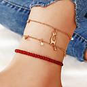 ราคาถูก กำไลข้อเท้า-สำหรับผู้หญิง สีแดง สร้อยข้อมือข้อเท้า หลายเลเยอร์ แมว Star คลาสสิก อินเทรนด์ แฟชั่น สไตล์น่ารัก สีสัน สร้อยข้อเท้า เครื่องประดับ สีทอง สำหรับ ปาร์ตี้ ทุกวัน Street ฮอลิเดย์ เทศกาล / 3 ชิ้น