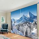 olcso 3D függönyök-hó hegyi digitális nyomtatás 3d függöny árnyékoló függöny magas pontosságú fekete selyem anyagból kiváló minőségű függöny