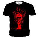 billige T-skjorter og singleter til herrer-T-skjorte Herre - 3D / Hodeskaller / Batikkfarget, Trykt mønster Gatemote / overdrevet Svart